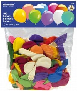 100 Party-Luftballons, einfarbig, bunt gemischt - 1
