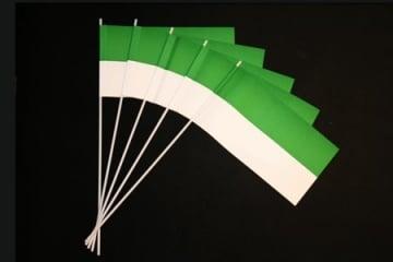 50 Papierfähnchen, grün-weiß - 1