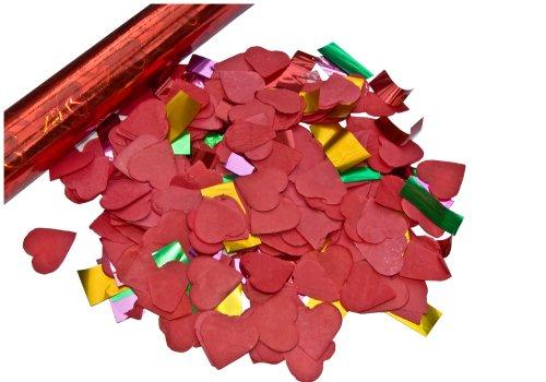 6er Set deelite Herz Confettishooter / Konfettikanonen 60cm mit roten Herzen - 2