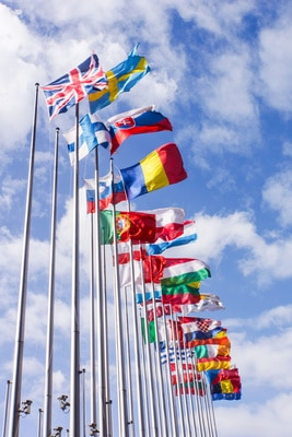 Auf einer Party zum Europatag könnten beispielsweise die Länderflaggen der EU-Mitgliedsstaaten als Papierfähnchen dekorativ in Szene gesetzt werden