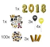 Silvester Party Deko Paket Mega Set 2018 - über 100 Teile
