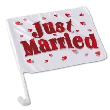"""Autofahne, Aufdruck """"Just Married"""", 40 x 30 cm, 45 cm Stablänge - 1"""