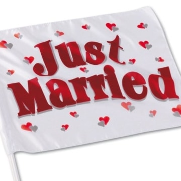 """Autofahne, Aufdruck """"Just Married"""", 40 x 30 cm, 45 cm Stablänge - 2"""