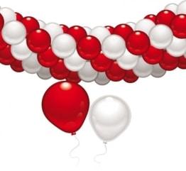Ballon-Deko-Set: 60 Ballons, rot-weiß, mit Deko-Zubehör - 1