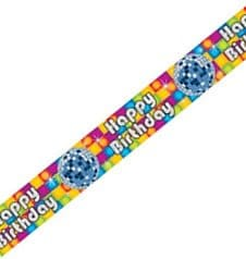 "Banner: Banner-Bordüre, Disco, ""Happy Birthday"", 360 x 12,7 cm - 1"