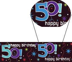 """Banner-Bordüre: Schriftzug """"Happy Birthday"""" und """"50"""", 360 cm x 13 cm - 1"""