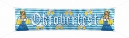 """Banner: Straßenbanner, Bayern-Rauten, """"Oktoberfest"""", mit Ösen und Band, 180 x 40 cm - 1"""