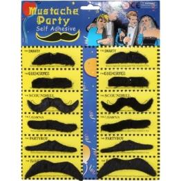 Bart: verschiedene Schnurrbärte, selbstklebend, auf Bartkarte, 12 Stück - 1