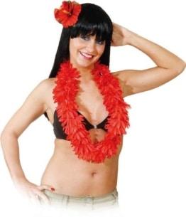 Blumen-Kette: Hulakette, rot, mit Haarclip - 1