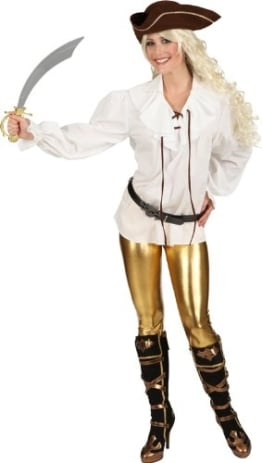 Bluse: Piraten-Bluse, creme-weiß, verschiedene Farben - 1