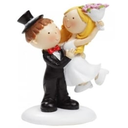Brautpaar als Tischdeko/Tortendeko, Mann hebt Frau, 90 mm - 1