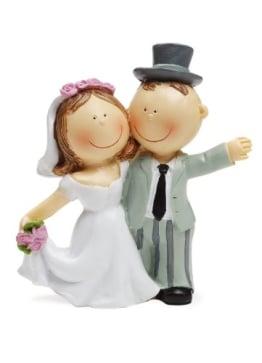 Brautpaar als Tortendeko, winkend, 90 mm - 1