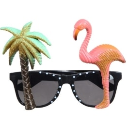 Brille: Karibik-Brille mit Palme und Flamingo - 1