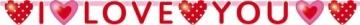 """Buchstabenkette: Schriftzug """"I Love You"""" mit Herzen, 170 cm Länge, 11 cm Höhe - 1"""