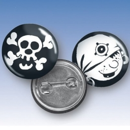 Buttons PIRATENPARTY, 2er-Pack Pins Partygäste - 1