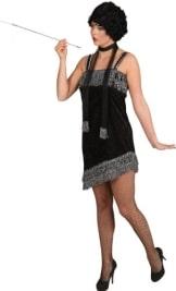 Charlestonkleid schwarz-silber - 1
