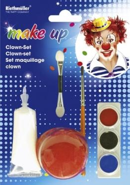 Clown-Set: Schminke, verschiedene Farben, Clownnase - 1