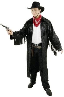Cowboy: Westernmantel, Fransen, schwarz - 1