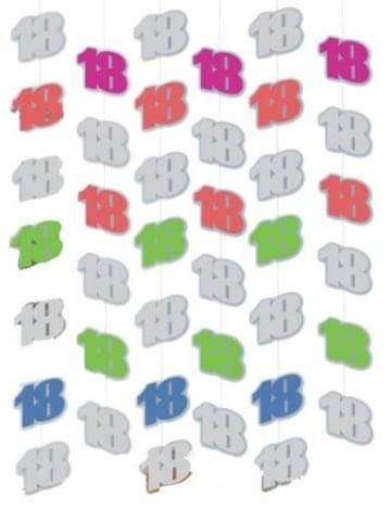 Deckenhänger: Zahl 18, 2 m lang, 6er-Pack - 2