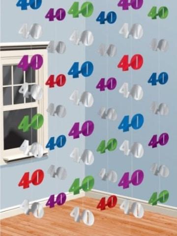 Deckenhänger: Zahl 40, 2 m lang, 6er-Pack - 2