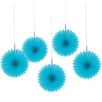 Deko-Fächer, einfarbig in Hellblau, 15 cm, 5er-Pack - 1