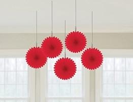 Deko-Fächer, einfarbig in Rot, 15 cm, 5er-Pack - 1