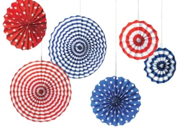 "Deko-Fächer: USA-Fächer ""American Summer"", blau-weiß-rot, 6er-Pack - 1"