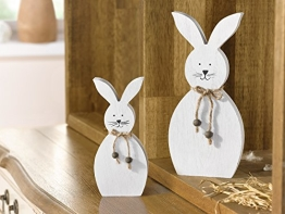 """Deko-Hase """"White"""", 2er Set niedliche Figur in schlichtem Weiß, Holz dekoriert mit Schnur und kleinen Holzperlen Höhe 18 cm, 25 cm - 1"""