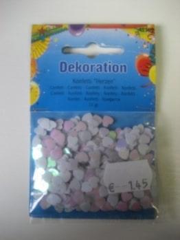 Deko-Konfetti: Metallkonfetti als Herzen, weiß mit Perlmutt-Effekt, 10 g - 1