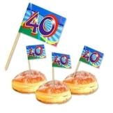 "Deko-Picker: Party-Picker, ""Birthday Swirl"", Zahl 40, 50er-Pack - 1"