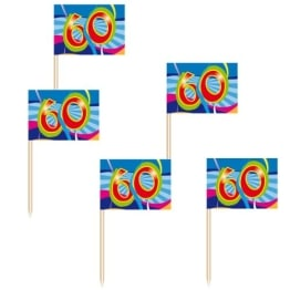 "Deko-Picker: Party-Picker, ""Birthday Swirl"", Zahl 60, 50er-Pack - 1"