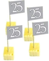 Deko-Picker: Party-Picker, Zahl 25, silber, 65 mm Höhe, 50er-Pack - 1