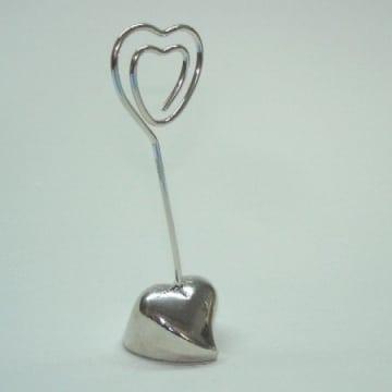 Deko: Platzkartenhalter, silbernes Herz, 8 cm - 1