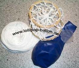 Deko-Set: Heißluftballon inkl. 2 Ballons, Netz und Gondel, Gesamtlänge 20 cm - 1