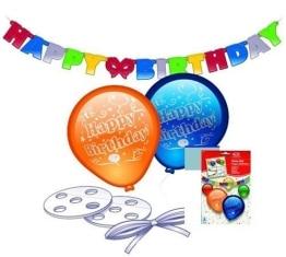 """Deko-Set: Luftballons und Buchstabenkette mit Schriftzug """"Happy Birthday"""" - 1"""