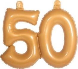 Deko zur Goldenen Hochzeit: Zahl 50, aufblasbar, 35 cm - 1