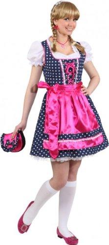 """Dirndl: Dirndl-Kombination """"Fanny"""", Kleid, Bluse und Schürze, blau-pink, gepunktet - 1"""