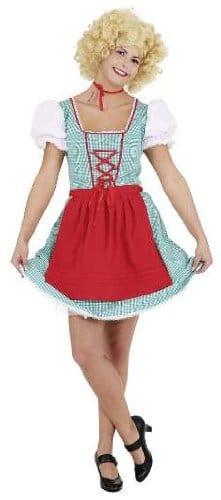 Dirndl grün-rot : Kleid und Schürze - 1