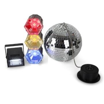 disco mega party set discokugel mit motor und strahler 3er lichtorgel stroboskop blitzer. Black Bedroom Furniture Sets. Home Design Ideas