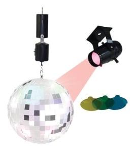 Disco-Party-Set: Spiegel-Kugel (20 cm) mit Motor und Strahler (4 Farbfilter) - 1