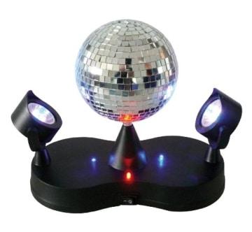 Discokugel: Spiegel-Kugel, 2 bunte LED-Spots, 22 cm - 1
