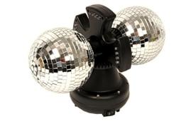 Doppel-Discokugel: 2er-Spiegel-Kugel, LED-beleuchtet, 16 cm - 1