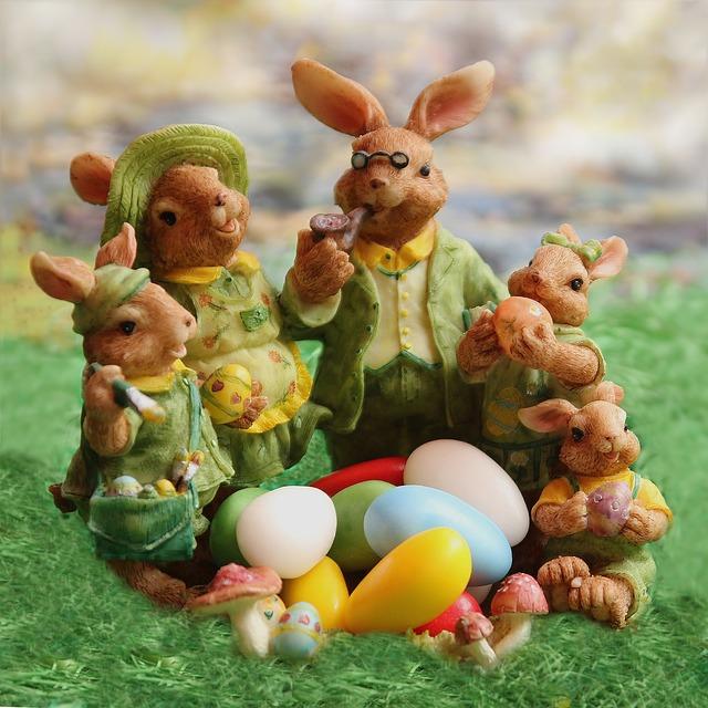 Osterhasen und Ostereier sind ein Symbol für die Auferstehung