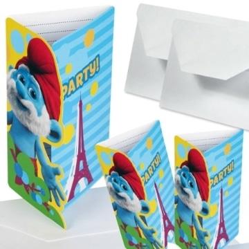 """Einladungskarten, Motiv """"Schlümpfe, Teil 2"""", 6 Stück - 1"""