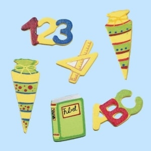 Einschulung: Holzdeko, verschiedene Motive, 3 – 5 cm, 12er-Pack - 1