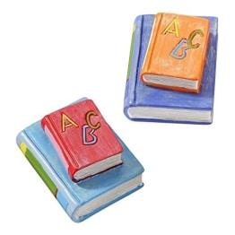 Einschulung: Tischdeko, Bücherstapel, rot-hellblau, Kunststein, ca. 4 cm - 1