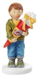Einschulung: Tischdeko, Junge mit Schultüte, Kunststein, ca. 85 mm - 1