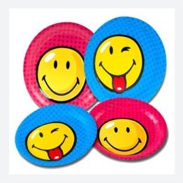 Einweg-Teller: Smiley-Motiv, 23 cm Durchmesser, 8er-Pack - 1