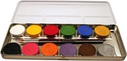 Eulenspiegel Schmink-Set: Schminke mit Pinsel, Metall-Palette, 12 x 5 g - 1