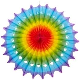 Fächer: Partyfächer, Regenbogenfarben, bunt, 50 cm - 1